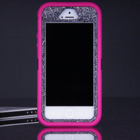 iPhone 5 / 5S Otterbox Defender Case - Pink/Smoke Glitter iPhone 5 / 5S Case - Sparkly Glitter Bling iPhone 5 / 5s Cover