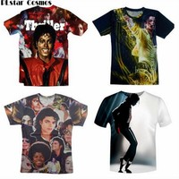PLstar Cosmos hip hop men's 3d t-shirt print King of Rock Roll Michael Jackson t shirt women/men singer star tshirt size S-5XL