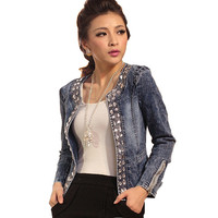 2016 New Slim Denim Jackets Outerwear Coats Classical Rhinestone Sequins Retro Jackets Women Coats With Rivets Female Jackets