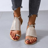 Summer new style women's shoes with toe high top buckle sandals bright leather fashion beach shoes women