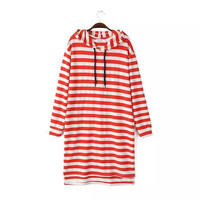 Stylish Korean Hats Long Sleeve Stripes Casual Women's Fashion One Piece Dress [4919035332]