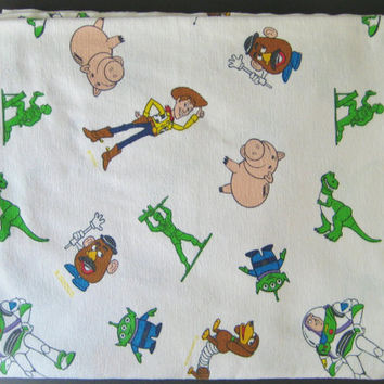 Vintage Toy Story Flannel Bedding Woody Buzz Mr Potato Head Rex Flat Sheet TWIN Size Kids Bedding Made in Canada Hasbro 1995 Clean Used HTF
