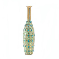 Long Neck Peacock Turquoise Jeweled Vase