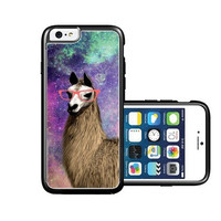 RCGrafix Brand Shawnex-SpringInk-Hipster-Cute-Llama-Geek-Glass iPhone 6 Case - Fits NEW Apple iPhone 6