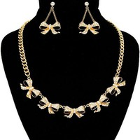 Gold and Crystal Multi Bow Necklace