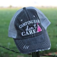 Camping Hair, Don't Care Trucker Hat