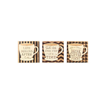 3 Piece Wood Coffee Box Sign Set By Young