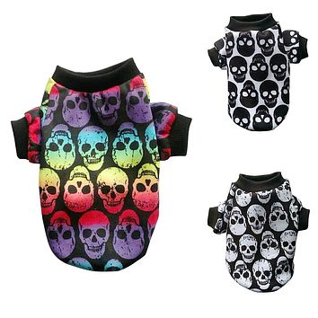 Skull Dog Vest Autumn Winter Clothes for Small Pet Coat Jacket Outfit Puppy Warm