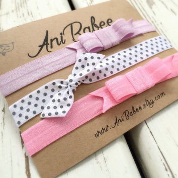 baby headband, pink baby headband, baby headband set, baby headband bows, shabby chic, girls headband, teen, womens, infant headband