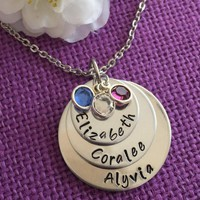 Mom Necklace - Mother's Day Gift  - Personalized Mom Necklace - Stacked Disc Birthstone Necklace - Family Jewelry - Gift for Mom - Mom