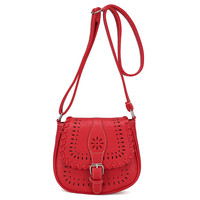 Red PU Cut-Out Buckle Detail Flap Magnetic Press Stud Cross-body Bag