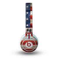 The Wooden Grungy American Flag Skin for the Beats by Dre Mixr Headphones
