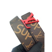 LV x Supreme co-branded men's and women's simple and simple smooth buckle belt