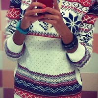 White Geometric Polka Dot Sweater