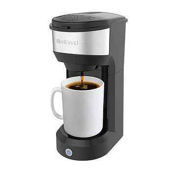 West Bend 56901 Single Serve Quick Brew Coffee Maker with Reusable Filter and K-Cup Compatible, 14-Ounce, Black