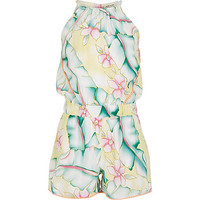 River Island Girls yellow floral print Romper