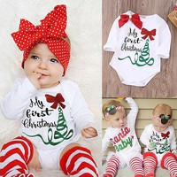 Cute Newborn Baby Girl Long Sleeve Bodysuit Jumpsuit My First Christmas Outfits Autumn Kids Suit