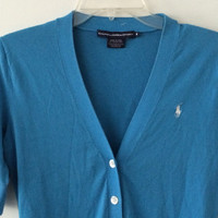 Sale!! Vintage Polo Ralph Lauren Sport blue cardigans tops blues sweater size Medium Free shipping within the USA