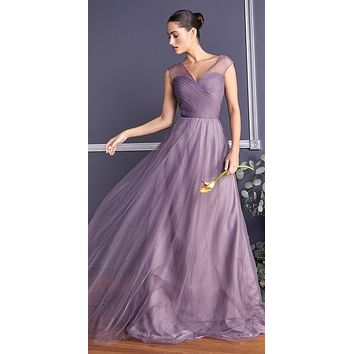 French Lilac Illusion V-Neck and Back Long Bridesmaid Dress Sleeveless