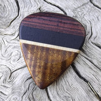 Handmade Premium Multi-Wood Guitar Pick - Actual Pick Shown - No Stock Photos - Koa, Maple, Ebony, & Kingwood