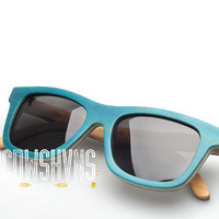 Wood Sunglasses - Eco-Friendly Recycled Blue Skateboard Wood Wayfarer Sunglasses | Hand Made from Recycled Wood