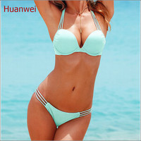 Light blue Swim wears Push Up Bikini Brazilian Sexy #Bandage Beach Swimwear Ladies Swimsuit Bathing Suit Maillot De Bain 0190