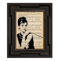 Beautiful Black and White Audrey Hepburn Original Print on Antique Upcycled Sheet Music
