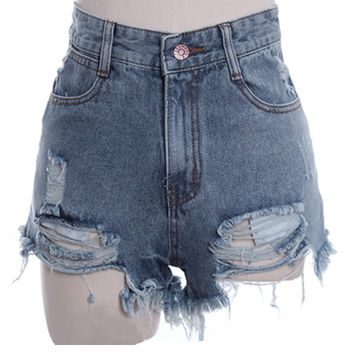 Women's Punk Rock Fashion Street Vintage Grunge Hole Water Wash Retro High Waist Sexy Shorts Jeans Pants_Pants_Women's Bottoms_Women_The Latest Trends & Fashion Clothing For Women Online Store-www.dressin.com