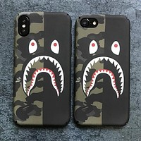 Bape Aape New fashion camouflage shark eye print couple luminous protective case phone case