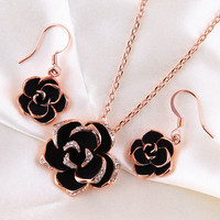Black Rose Gold Necklace Earrings Set