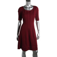 Signature By Robbie Bee Womens Petites Seamed Textured Casual Dress