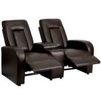 Brown Leather 2-Seat Home Theater Recliner with Storage Console