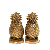 Pineapple Bookends Brass Bookends PM Craftsman Bookends Brass Pineapple Bookends Pineapple Decor Bookends