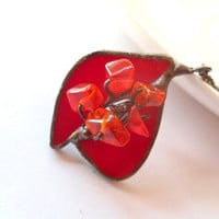 Christmas gift stained glass contemporary jewelry pendant artistic copper wire red beaded Romantic