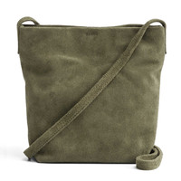 BAGGU Leather Cross Body Purse Olive Suede