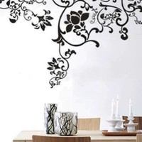 """X Large Contemporary Black Floral Flowers Design 63"""" Inches - More than 5 Feet Wall Sticker Decal"""