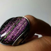 Purple Cocktail Ring, Unique Sparkly Dichroic Glass, Oxidized Sterling Silver, Any Size, pink, green