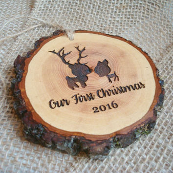 Our First Christmas Ornament, Deer Christmas Ornament, Rustic Christmas Tree Ornament, First Christmas, Rustic Christmas Decor