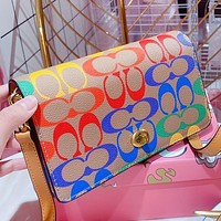 COACH New fashion multicolor pattern print leather shoulder bag crossbody bag