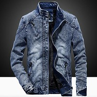 Vintage Denim Jackets Men Slim Fit Solid Color Casual Mens Jeans Coat Fashion Stand Clothes For Men