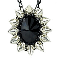 Large Black Stone Necklace with Chaos Star Spikes