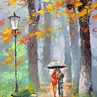 Autumn kiss - original oil on canvas painting by Dmitry Spiros, 60 x 80, 24 x 32in, 2015