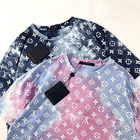 LV Louis Vuitton new full printed tie-dye logo printed round neck half-sleeved T-shirt