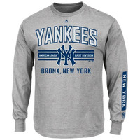 Majestic New York Yankees 1st to 3rd Long Sleeve T-Shirt - Gray