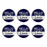 Lane Hello My Name Is Plastic Resin Button Set of 6