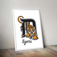Detroit Tigers watercolor style poster, wall art, home decor, 8x10, 11x14, 13x19