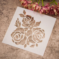 Stencil Plastic Template featuring 3 Roses