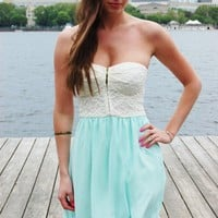 Sweetest Thing Dress – Mint Strapless Dress with Cream Lace Zip Sweetheart Top