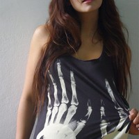 XRay Handcuffs Goth Punk Rock Hand Printed Tank Top by 1stepbeyond