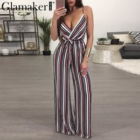 Glamaker Flower print sexy summer jumpsuit romper Women deep v neck stripe long playsuit Boho beach jumpsuit female overalls